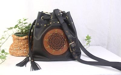 Celestia Leather Drawstring Bag - Mandala Black & Tan