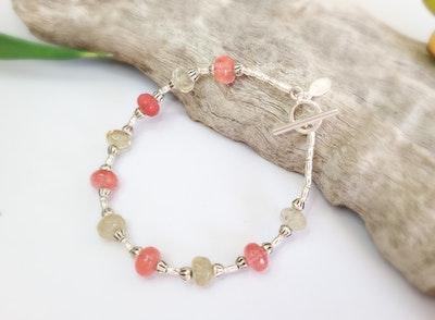 Uniqu-Lea Yours Cherry Quartz and Hill Tribe Silver Bracelet