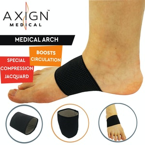 Boutique Medical 1 Pair AXIGN Medical Arch Compression Foot Band - Black