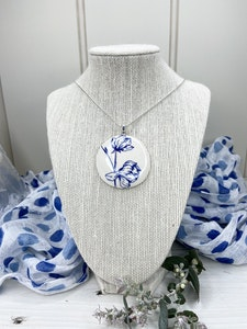 Blue and White Magnolia Concave Pendant on Sterling Silver Plated Chain