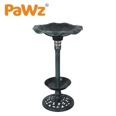 PaWz Bird Bath Feeder Feeding Food Station Ornamental Solar Light Outdoor Garden