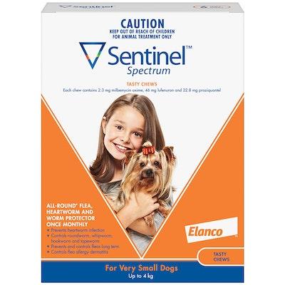 Sentinel Spectrum Very Small Dogs Flea Treatment Tasty Chews Brown - 2 Sizes