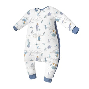 Domiamia  Silky Bamboo Long Sleeve Sleepsuit with Stretchy Side Panel- Beach Map (1.0 Tog)