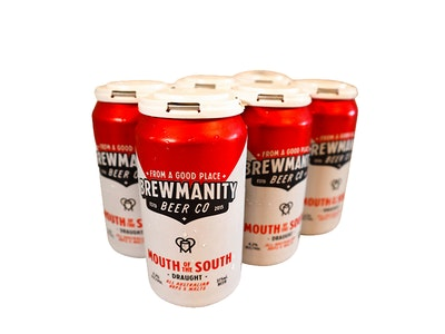 Brewmanity Mouth of the South Draught Beer Can 375mL 6 Pack