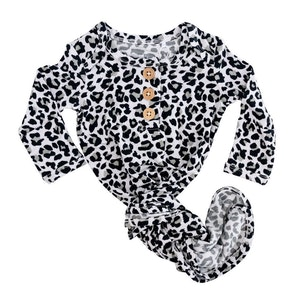 Marli & Me™ Bamboo Jersey Knotted Baby Gown   Rory Leopard