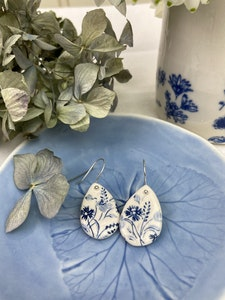 Blue and White floral tear drop porcelain earrings on Sterling Silver wires