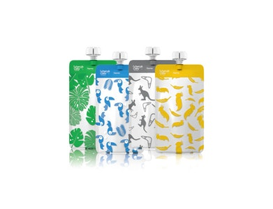 On the Go Reusable Food Pouch Mini's Bundle - Grey, Yellow, Blue, Green 20pk