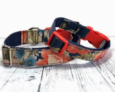 Cedarwood and Ash Floral Red on Navy Handmade Dog Collar. (This listing is for the Collar only, a Collar and Leash SET is available in separate listing.)