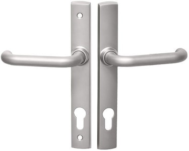 Lockwood Palladium double cylinder french door lock handle set with Gidgee 37 lever Satin Pearl