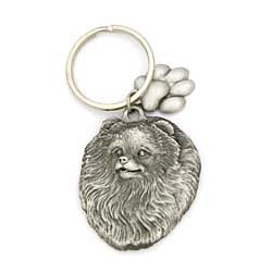 Key Companions Solid Fine Pewter Pomeranian with Paw Keychain