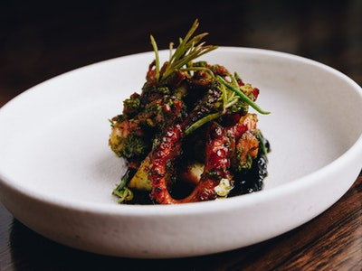 Chargrilled and Marinated Octopus with Squid Ink Anchoiade, Chorizo, Green Harissa