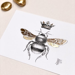 A5 'Blessed Bee' Limited Edition Print with Hand-Applied Gold-Leaf Metals.