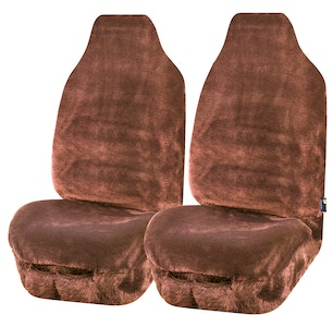 Universal Finesse Faux Fur Front Seat Covers Size 60/25   Mocha