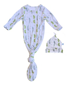Keep Me Cosy® Baby Knotted Gown + Hat in Luxurious Bamboo Fabric - Olive Leaves