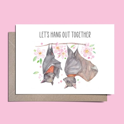 Watercolour by Cat Watercolour Australian Flying foxes greeting card // Let's hang out together // Love card
