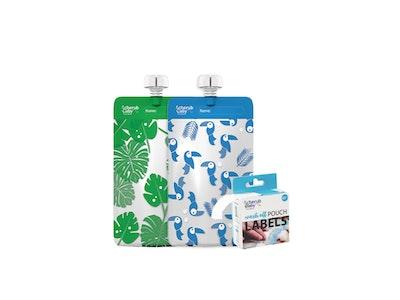 Food Pouch 120mL Mini's 10pk & Pouch Label Bundle - Toucan Blue & Rainforest Green
