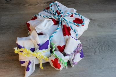 Julevidge Boomerang eco fabric gift four wrap bundle (flowers design)