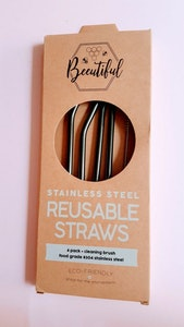 Beeutiful Black Stainless Steel Straws 4 Pack Mix (Limited Edition)