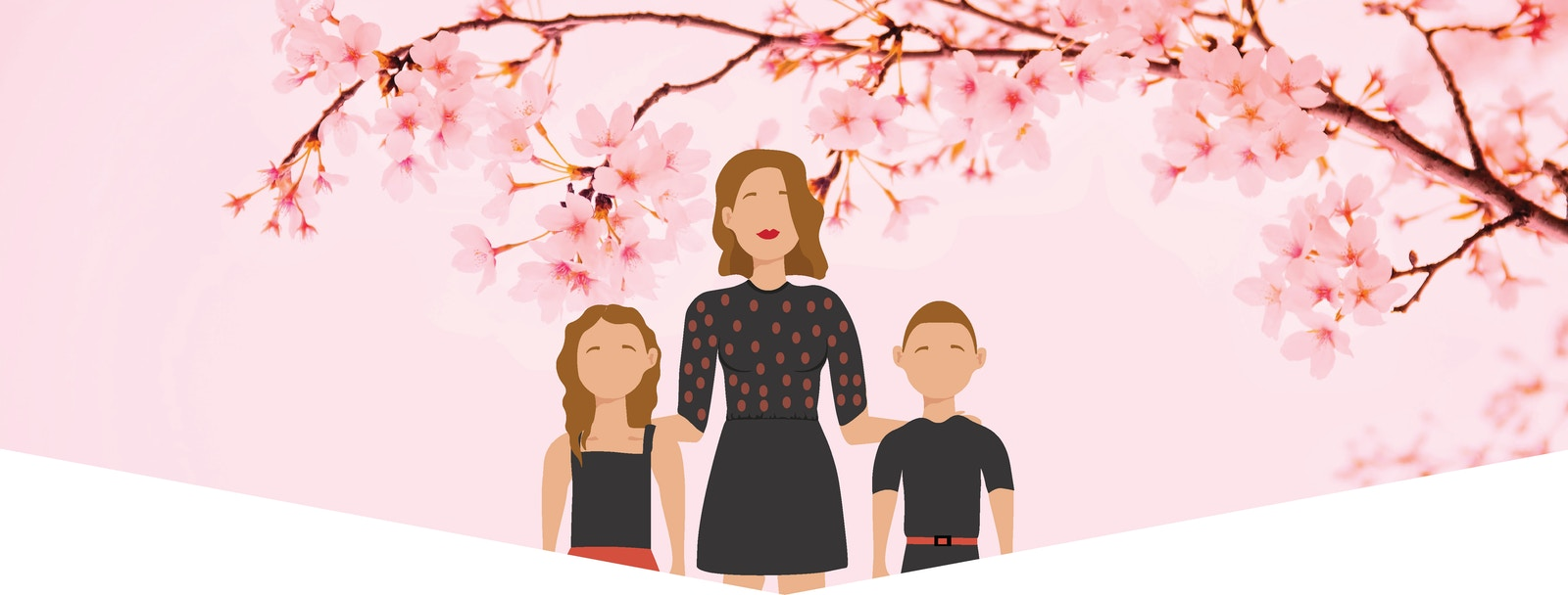 Illustration of woman with two kids