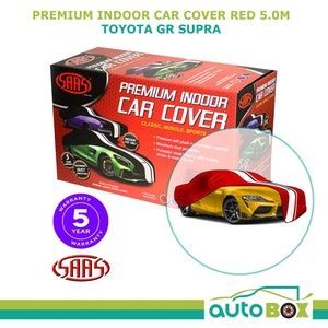 SAAS SHOW CAR COVER suits Toyota GR Supra 5.0m RED LARGE PREMIUM STRIPES