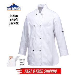 Portwest Women's Rachel Chef Jacket Hospitality Cook MeshAir - White