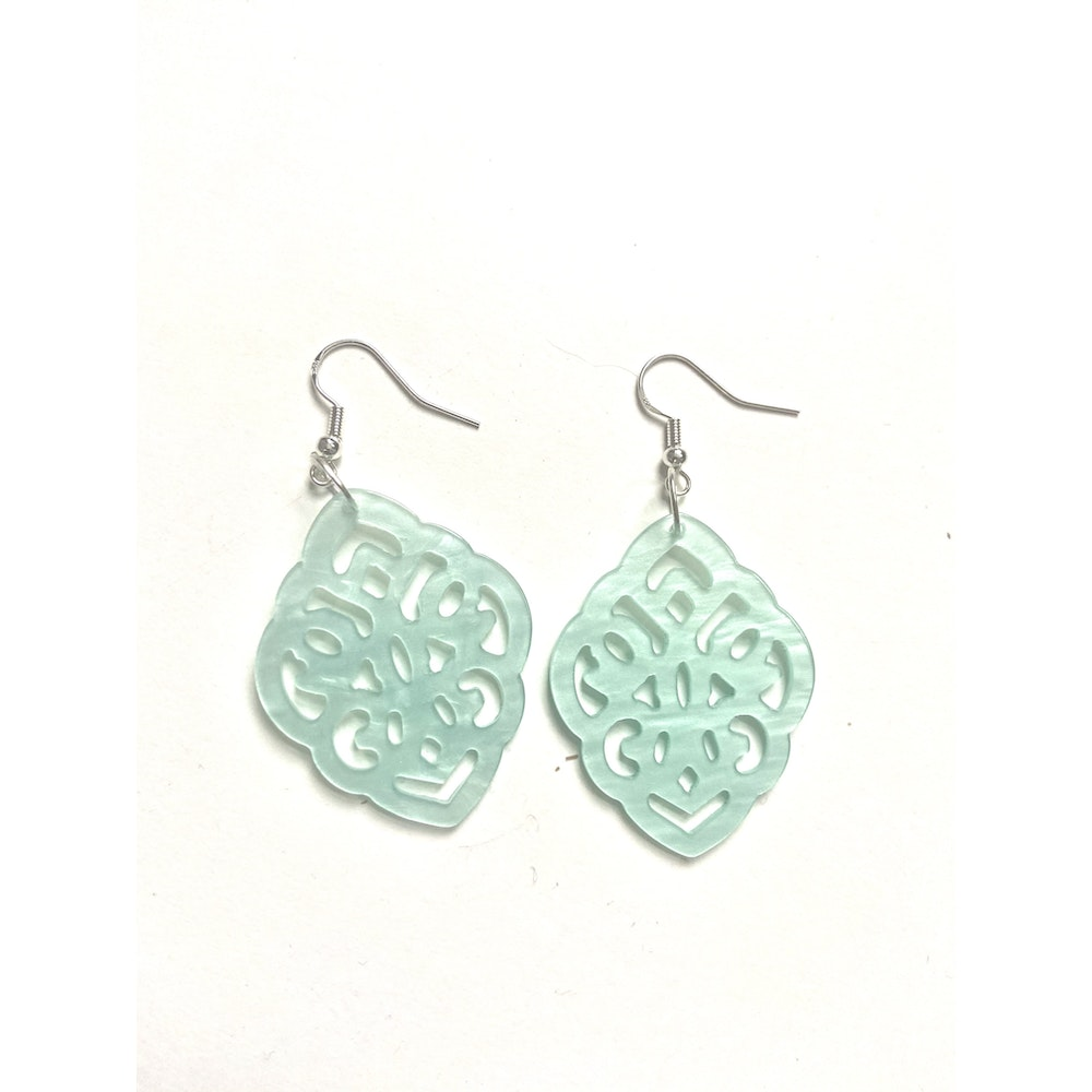 One of a Kind Club Pale Blue Resin Shaped Earrings