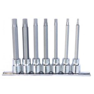 """SP20544 Spline Bit Socket Rail Set 7 Piece 3/8"""" Dr 100mm SP20544"""