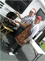 Sinful Santa and Mary Christmas Weber BabyQ vegetables