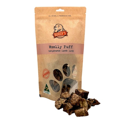 Bugsy's Pet Supplies HEALTHY SNACKS | Australian Lamb 'Woolly' Cubes (Dehydrated Lung Puffs)