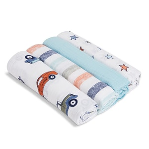 aden hit the road 4-pack muslin swaddles