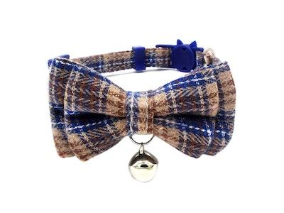 Queenie's Pawprints Kitty Bowtie English Style Collar in Blue