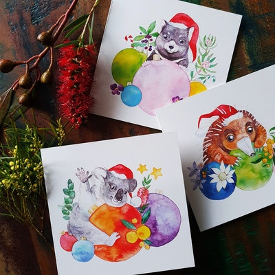 Watercolour by Cat Set of 8 Australian Animals Christmas Card 2021