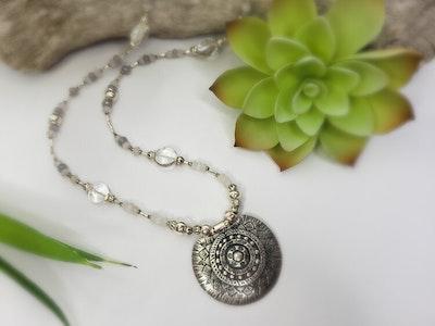Uniqu-Lea Yours Rainbow Moonstone, Silver Jade and Clear Quartz Necklace