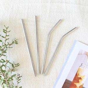 Ekoroo 4pk Reusable Straw Set - Silver