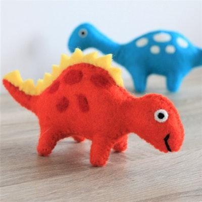 "Queenie's Pawprints Natural Wool Hand-felted Toy ""Orange Dino"""
