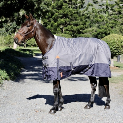 Capriole Equestrian 1200D Navy & Grey Waterproof Rug – with 250g Filling.