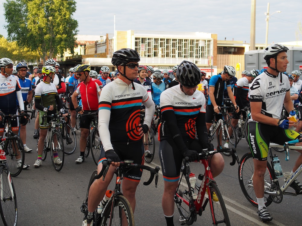 Riders at the start line Gears  beers