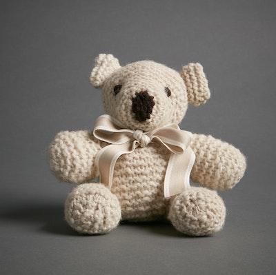 Global Sisters Shop Hand Knitted Teddy Bear - Cream