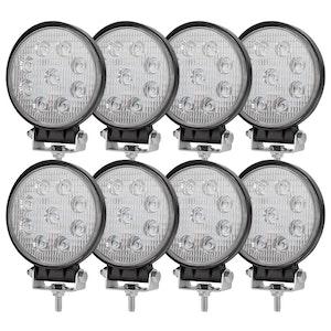 LIGHTFOX 8x 27W Cree LED Work Light Round Flood LED Driving Lamp Reverse 4WD Offroad