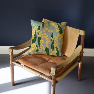 Wattle Flower Pure Linen Cushion Cover