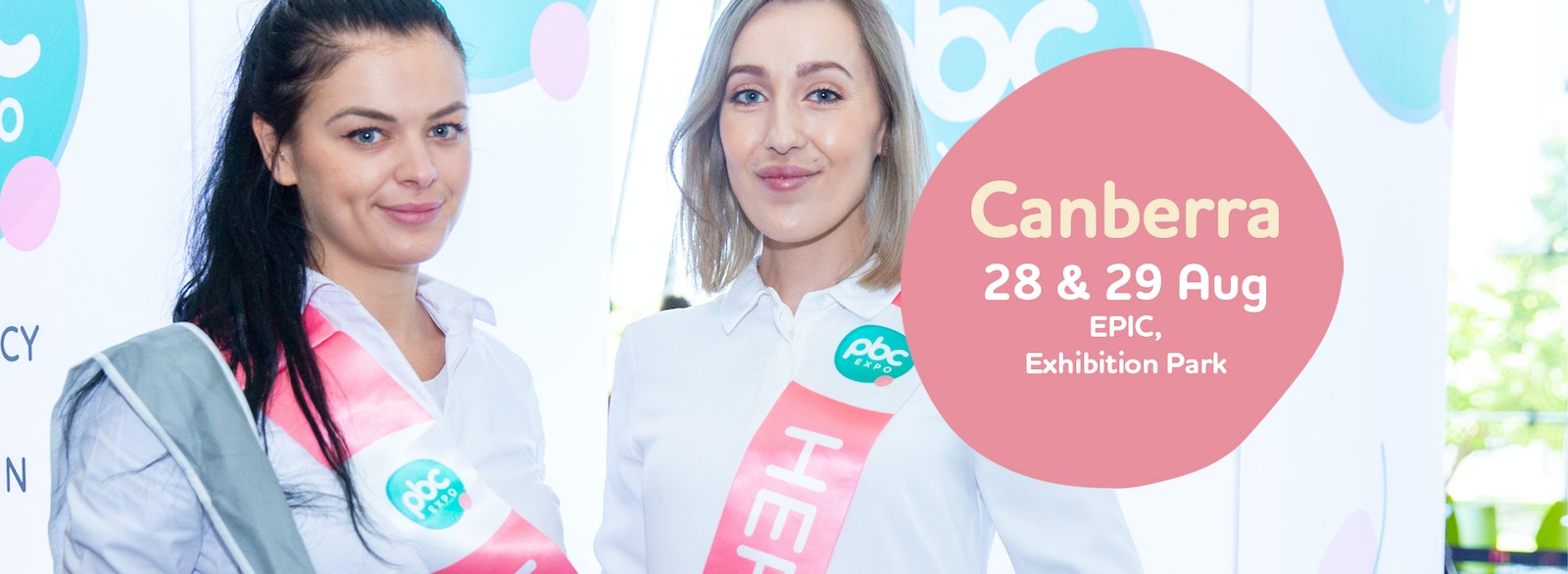 Image of two workers at expo with text box that reads Canberra, 28th and 29th August, EPIC, Exhibition Park
