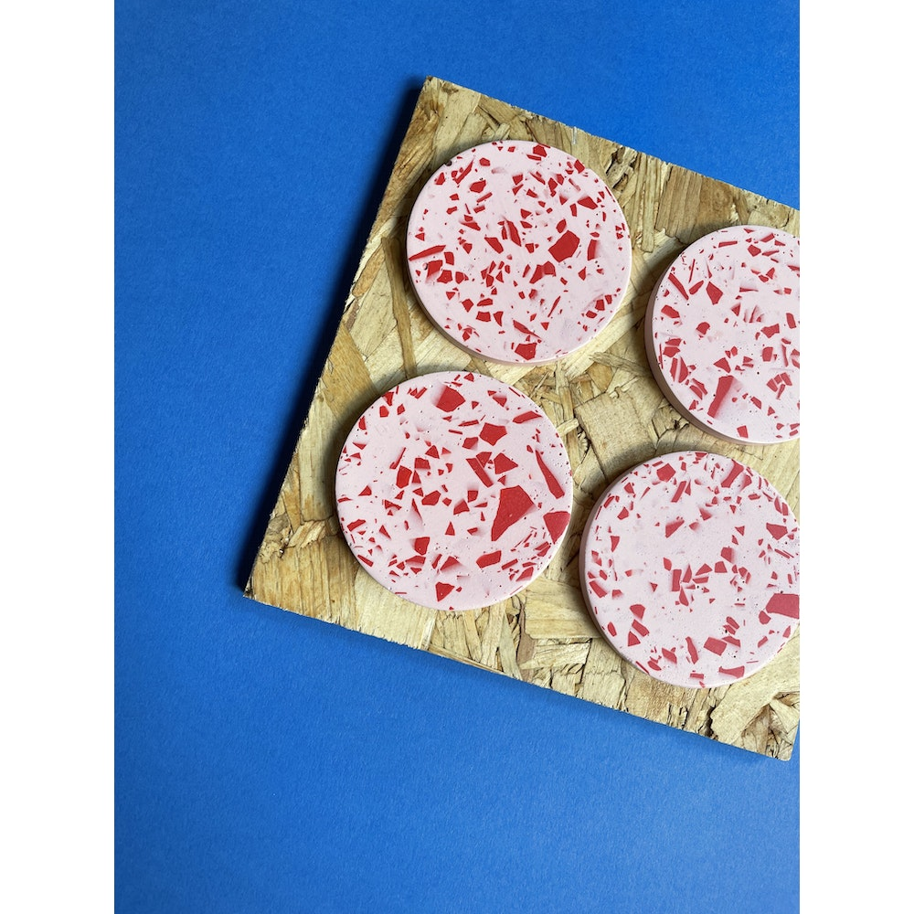 Smudge Creations Set Of 4 Pink And Red Terrazzo Round Coasters