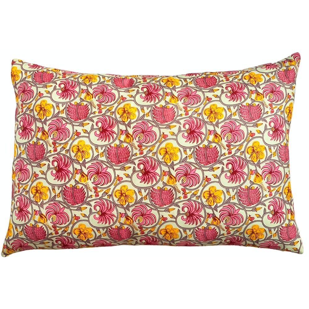 The Cushion Maven Handmade Cushion In Pink & Yellow Traditionally Hand-blocked Design