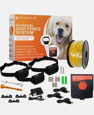 Pet Control HQ Waterproof Rechargeable Electric Dog Fence System 3 Collars