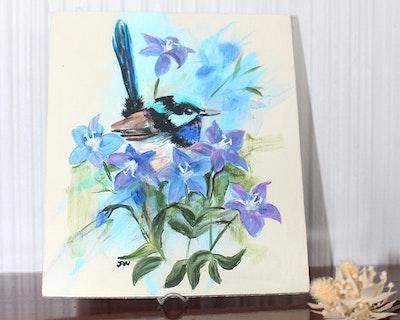 Sunbirds Design Original Small Acrylic Painting - Canberan No.1