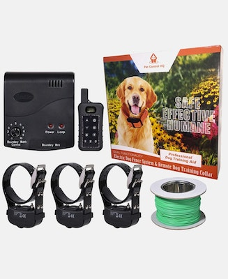Pet Control HQ Combo Electric Dog Fence & 3 Remote Training Collar