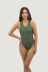 1 People Santorini Crisscross One-Piece Swimsuit in Seaweed Green