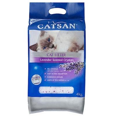 Catsan Silica Cat Litter Crystals Lavender Scent Hi Absorption 2 x 4kg