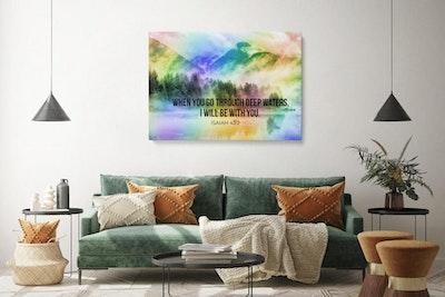"""Art Of A Kind Through Deep Waters Bible Verse Canvas Wall Art 16x24"""""""