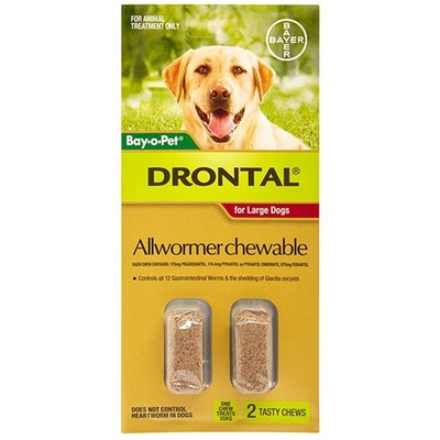 Drontal Chewable Allwormer for Dogs Large up to 35kg - 2 Sizes